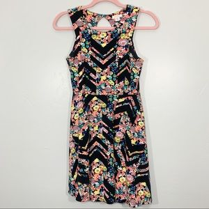 Xhilaration | Black Colorful Floral Mini Dress